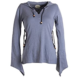 Vishes – Alternative Bekleidung – Elfenshirt mit Zipfelkapuze und Bändern zum Schnüren grau 34/36