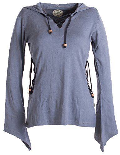 Vishes - Alternative Bekleidung - Elfenshirt mit Zipfelkapuze und Bändern zum Schnüren grau 46/48 - Grau Pixie