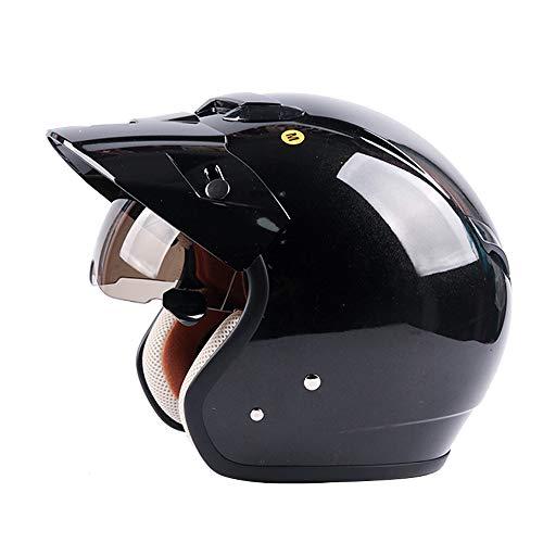 MMRLY Offener Motorradhelm, DOT Certified Handmade Personality Retro-Harley-Halbhelm mit Sonnenblende und versteckter innerer Sonnenbrille (M, L, XL, XXL),L