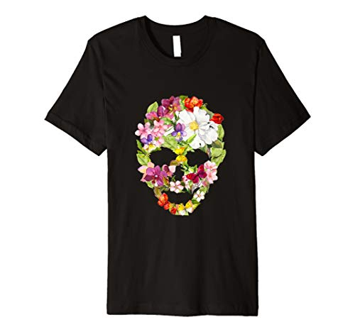 Halloween Floral Skull Day Of Dead T-Shirt
