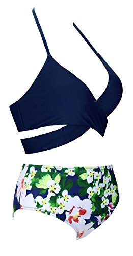 Angerella Frauen Retro Weinlese-Blumendruck-Unterseite Klassiker Drücken Bikini Auf -