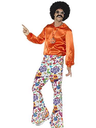 Smiffys - 44907XL - Déguisement Homme, Pantalon Hippie Cool Années 60 - XL - Multi-colour