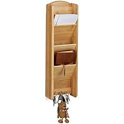Relaxdays Porta lettere/chiavi da parete in legno di bambu´, con 3 scompartimenti, 3 porta chiavi e le seguenti misure HBT: 7,5 x 15 x 49,5 cm
