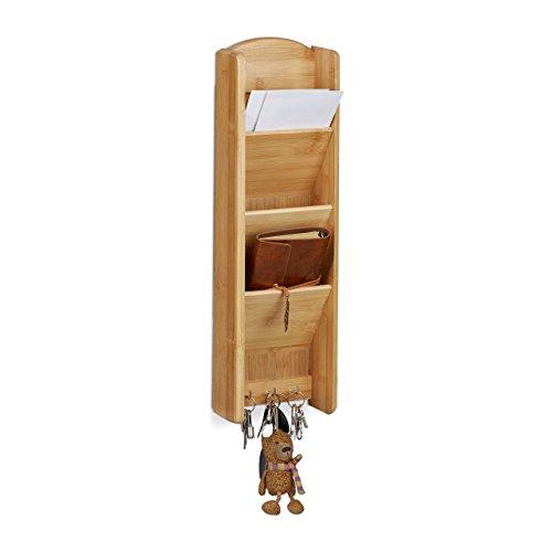 Relaxdays–Llave Tabla con estante bambú, 3compartimentos, 3llaves, pared organizador, H x B x T: 7,5x 15x 49,5, madera, natural