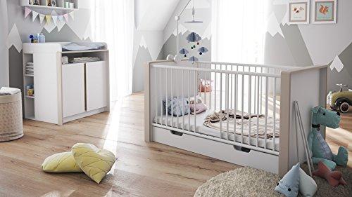 Chambre bébé enfant complète Ensemble Nandini Set 2 en Blanc mat avec des bandeaux en Mocca mat