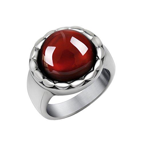 PAURO Herren Edelstahl Poliert Edelstein Inlay Ring, Granat Rubin Größe 54 (Engagement Rubin-diamant-ring)