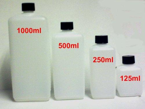 Preisvergleich Produktbild 10 Stück 250ml Kunststoff PE HDPE Viereck Flaschen mit Deckel Leerflaschen