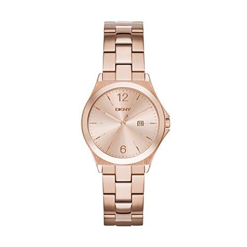 DKNY NY2367   Reloj de cuarzo con correa de acero inoxidable para mujer, color rosa