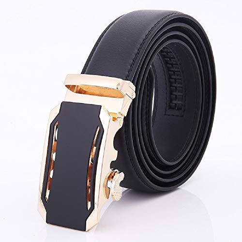 Herren Business Ledergürtel, verstellbarer Bund aus echtem Leder mit Ratsche, automatischer Gürtelschnalle, ideal for Jeans, Freizeit-, Cowboy- und Arbeitskleidung (Farbe : Gold, Größe : 51.2in)