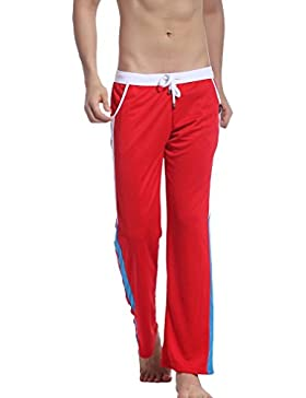 Honghu Hombre Casual Pantalones Rojo Tamaño L