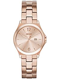 DKNY  NY2367 - Reloj de cuarzo con correa de acero inoxidable para mujer, color rosa