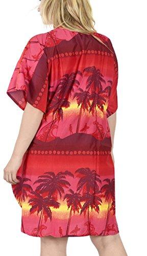 La Leela weich likre spritzen Wellen Palme verschleiern Strandkleid kurz Kaftan oben Rubinrot