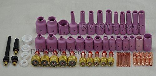 TIG KIT DE LENTES DE GAS  CAPUCHA TRASERA COLLET BODY FIT TIG SOLDADURA ANTORCHA SR WP17 18 26 55PCS