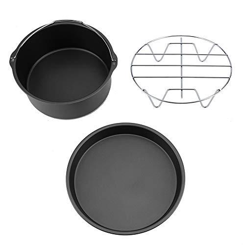 Friteuse-Zubehör - 8-Zoll-3-in-1-Pizza-Pfanne Multifunktions-Friteuse-Zubehör-Set Brotregal Cake Barrel (Golden, Schwarz) (Farbe : Black)