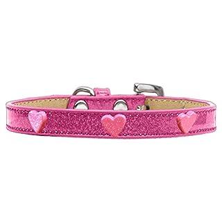 Mirage Pet Products 633-13 PK18 Pink Glitter Heart Widget Dog Collar Pink Ice Cream, Size 18