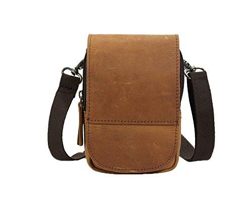 Genda 2Archer Leder Flapover Doppelreißverschlüsse Tasche Handy Gürteltasche (Dunkelbraun) Hellbraun(CN3150)