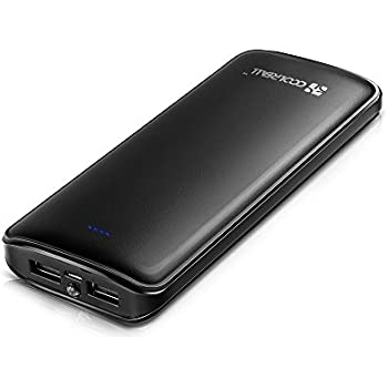 Powerbank 15600mAh,CoolrealL Externer Akku 2 USB Ports Zusatzakku Tragbar Handy Ladegerät für iPhone X 8 7 6S 6 Plus,iPad,Samsung Galaxy S8,Huawei und weitere Smartphones,Tablet (Schwarz)