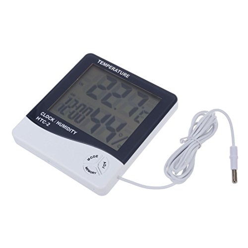 Preisvergleich Produktbild TOOGOO(R) HTC-2 Digitalen Innen/Aussen Thermo- und Hygrometer Temperatur- und Feuchtigkeitsmessgeraet Tester mit Zeit/Uhr(Weiss)