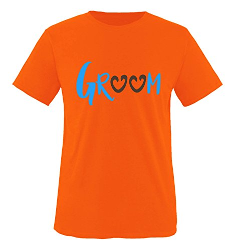 Comedy Shirts - Groom - Herzen - Herren T-Shirt - Orange/Blau-Braun Gr. S