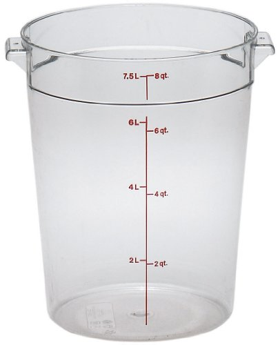 Cambro RFSCW8 8 qt Capacity, 9-15/16 Top Diameter x 10-7/8 Height, Camwear Clear Polycarbonate Round Food Storage Container (Cover Sold Separately) by Cambro