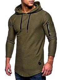 a64ac15cf67ce Yvelands Liquidación Moda Casual para Hombres Hermoso O-Cuello con Cremallera  Camiseta de Manga Larga