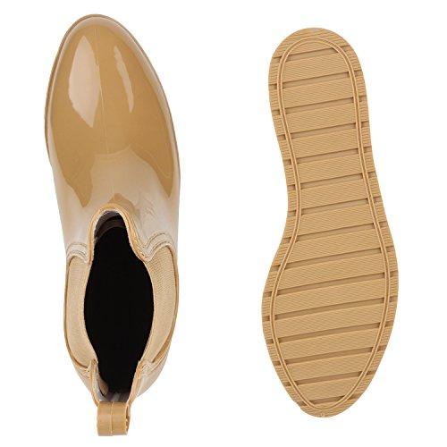 Stiefelparadies Damen Stiefeletten Gummistiefel Lack Chelsea Boots Blockabsatz Regenschuhe Wedges Keilabsatz Schuhe Plateau Boots Flandell Creme Amares