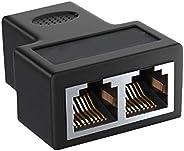 1 x RJ45 Female to 2 x RJ45 Female Cat7/Cat6/Cat5e Ethernet LAN Splitter Extender with Thunder Lightning Prote