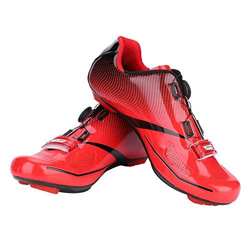 Alomejor Herren Lock System Radfahren Schuhe Atmungsaktiv Rennrad Anti-Skid Schuhe für MTB(45-Rot)