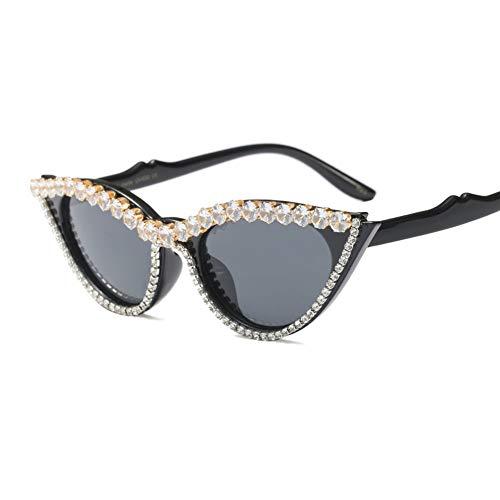 Z&HA Katzenauge Sonnenbrille Crystal verschönert Glasses Resin-Rahmen Schwarze Ton-Brillen,Brightblack