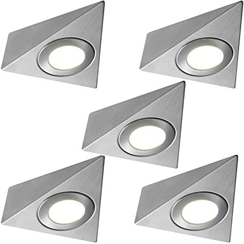 5x * 240V * Triangle LED Unter Schränke/Küche/Spots–gebürstetes Nickel & Natural weiß–Oberfläche montiert Arbeitsplatte Zähler Licht–Beleuchtung Beam Kit - Beleuchtung Küche Zähler