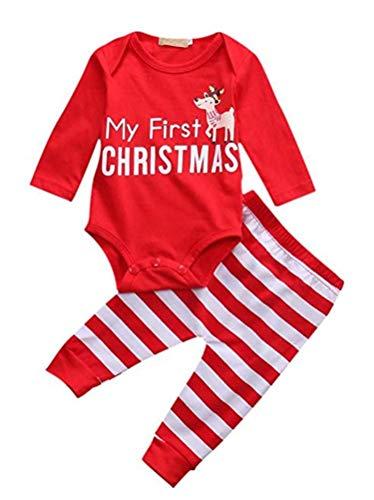 Piccoli monelli pigiama natale completo neonato bambino body con scritta my first christmas e pantalone con renna in cotone taglia 80 cm