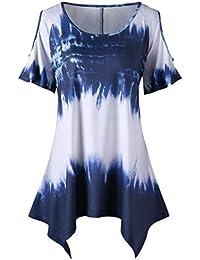 b74fb22b0c2 Turkey Women Plus Size Blouse Ladies Irregular Lace Flower Applique Tops Short  Sleeve V Neck T-Shirt…