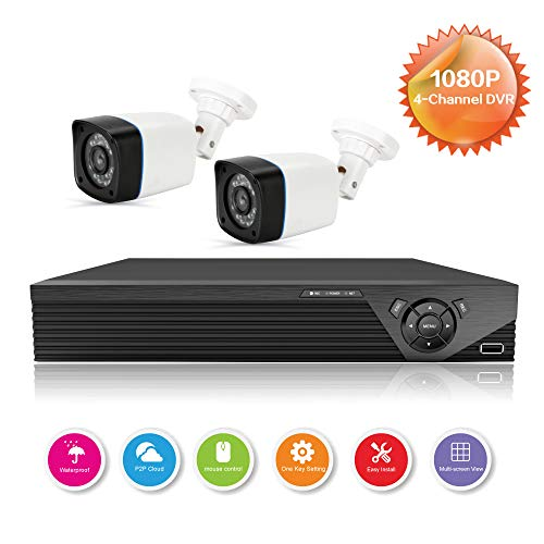 Anni CCTV Kameras System 4CH 1080p DVR Kit Recorder, 2X 720p in/Outdoor Kugelkamera, 25M Nachtsicht, Allwetter Adaption Home Sicherheitskamera Systeme, Unterstützung AHD/TVI/CVI/Analog/IP Kamera