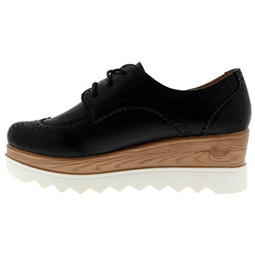 Damen Keilabsatz Brogue Gehärtete Sohle Schick Mode Pumps Oxfords Schuh Schwarz/Weiß