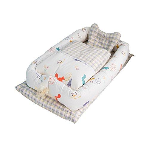 Baby Nido, T-MIX 100% Algodón Orgánico/Lavable - Recién Nacido 0-24 Meses Saco de Dormir de Seguridad - 3 Piezas Set [Almohada/Edredón / Cama Pequeña] (Squirrel)