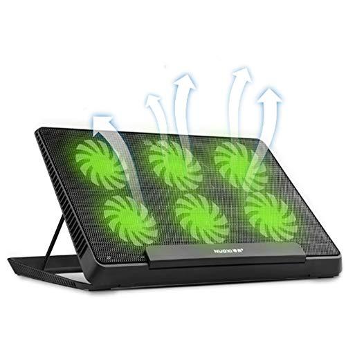 MENUDOWN 6 LED Lüfter Cooling Pad Aluminium Laptop Cooler Pad Ständer Für 17 15,6 Zoll USB Cooler Notebook Base Halter Einstellbare Geschwindigkeit,Black