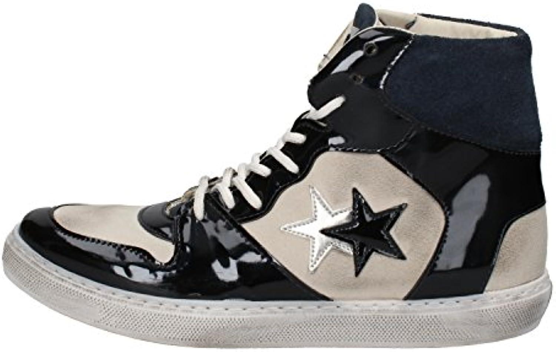 2 STAR scarpe scarpe scarpe da ginnastica Donna Pelle Verniciata Blu   Queensland    Scolaro/Ragazze Scarpa  40d3c1
