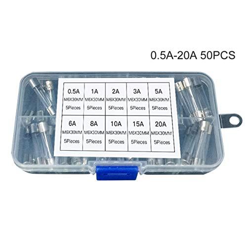 Noradtjcca 50 STÜCKE 6x30mm Flinke Sicherung Glasrohrsicherung Verschiedene Gemischte Kit Versicherung Rohr 0,5A / 1A / 2A / 3A / 5A / 6A / 8A / 10A / 15A / 20A -