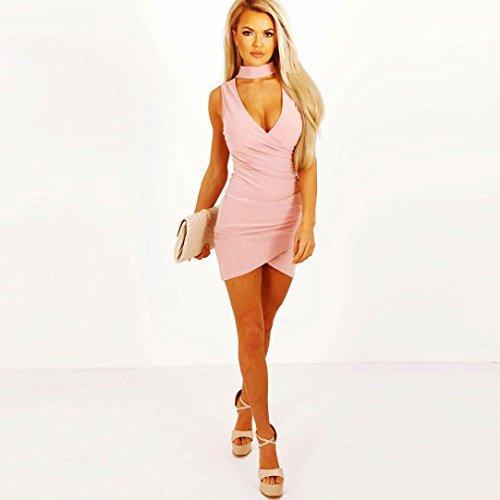 Kleid Transer® Damen Reizvolle Packung Hüfte Partei Kleid V-Ausschnitt  Ärmellos Schwarz Weiß Rot ...
