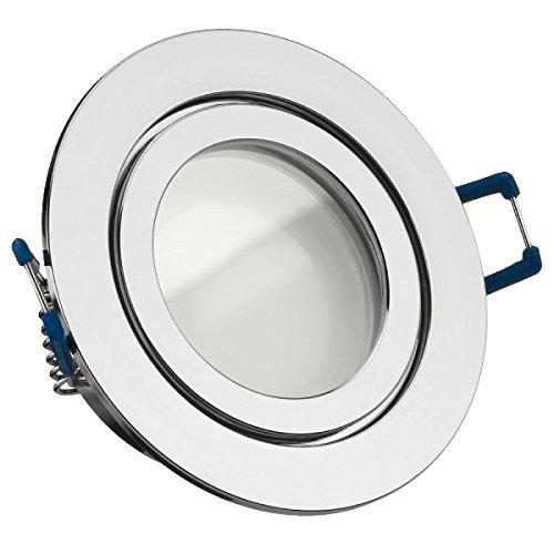IP44 LED Einbaustrahler Set Chrom mit LED GU10 Markenstrahler von LEDANDO - 5W - warmweiss - 120° Abstrahlwinkel - Feuchtraum / Badezimmer - 35W Ersatz - A+ - LED Spot 5 Watt - Einbauleuchte rund