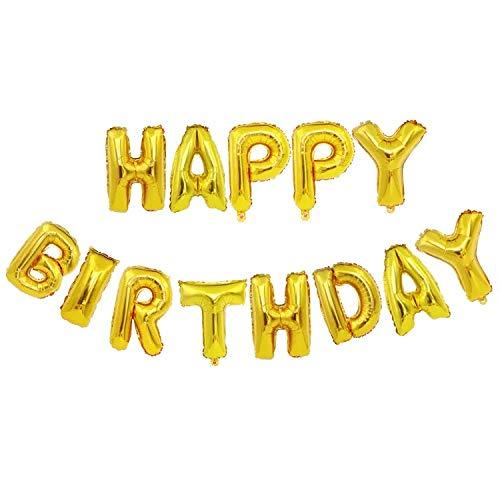 thematys Happy Birthday Party Ballon - Luftballons in 14 Erwachsene und Kinder Geburtstage (Gelb)