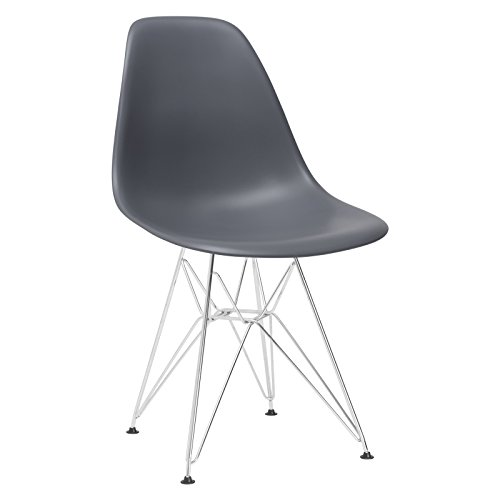 Poly and Bark Eames Style Molded Plastic Eiffel Side Chair, Gray