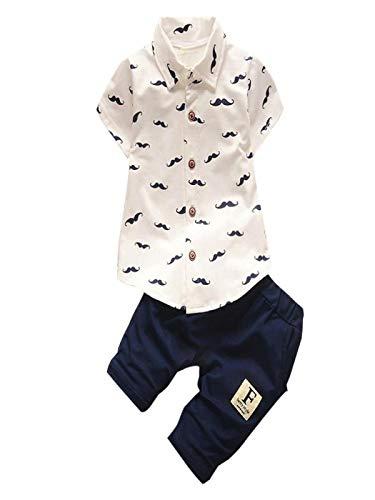 Baby Junge Kleidung Outfit, Honestyi Kleinkind Kinder Baby Jungen Bart T Shirt Tops + Shorts Hosen Outfit Kleidung Set (weiß,)
