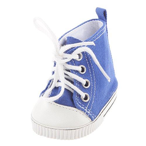 Sharplace Puppen Flache Segeltuchschuhe Schnüren Schuhe für 18 Zoll Mädchen Puppe Zubehör - Hell Blau, 7.3cm