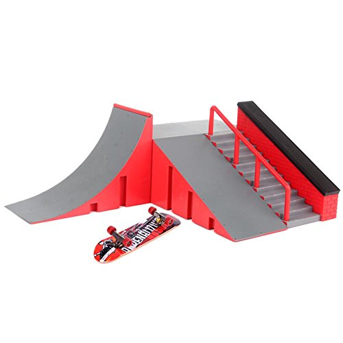Silveroneuk Mini Finger Skating Board Table Game Ramp Track Toy Set for Kids Gift(C)