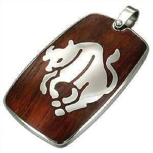 Pendentif signe zodiacal acier et bois : taureau