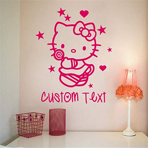 guijiumai Custom Made Cartoon Camera per Bambini Stickers murali Decorativi Camera da Letto Wall Art Adesivi per Gatto Traforato Rosa 50x50cm