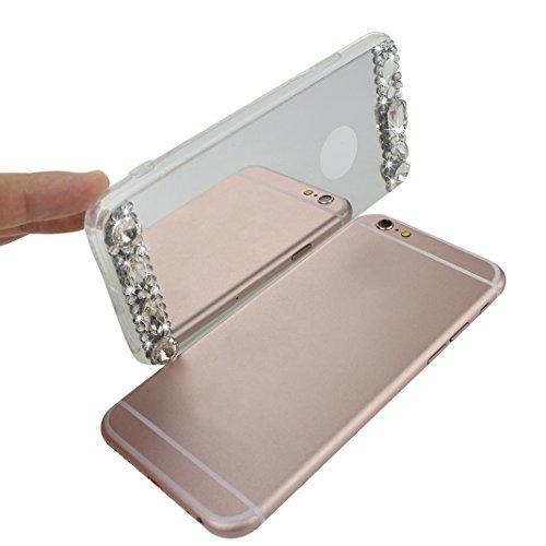 Coque iPhone 6 Plus Miroir Etui avec Anneau Titulaire, Housse iPhone 6S Plus Silicone, Moon mood® Briller Coloré Rhinestones Doux Coque pour iPhone 6S Plus 5.5 Pouces Effet Miroir Étui TPU Téléphone H Argent