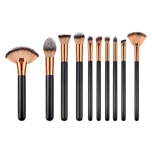 Cdet. 10Pcs Kit De Pinceau Maquillage avec Manche en Bois Cosmétiques Brosse en éventail Ensemble Fondation Mélange Blush Yeux Visage Poudre Make Up Style Simple Or Noir