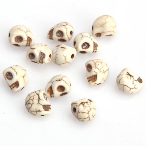 20 Stück Türkis Schädel Perlen Basteln Totenkopf Skull Spacer Beads 10mm (Schädel-perlen Und Charms)